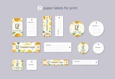 Labels de papier d'habillement de vecteur pour la copie avec le melon et les fleurs de modèle Photos libres de droits