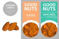 Labels de produit d'amandes dans des couleurs en pastel avec les éléments créatifs tirés de texture d'écrou et de conception de c illustration stock