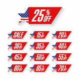 Labels de remise de vente de Jour de la Déclaration d'Indépendance des Etats-Unis Photos stock