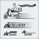 Labels de service de distribution, emblèmes, insignes et éléments de conception 24 heures de livraison de nourriture Styl de vint Image stock
