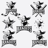 labels de sports de bandit de crâne Photos stock