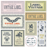 Labels de style de frontière sur différentes versions (brosses incluses) Photos stock