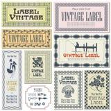 Labels de style de frontière sur différentes versions (brosses incluses) Images stock