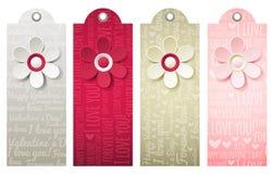 Labels de valentines avec la fleur décorative, vecteur Images libres de droits