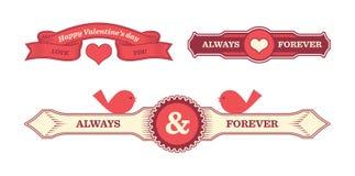 Labels de valentines de vintage Photos stock