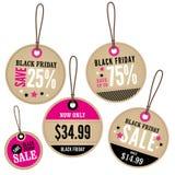 Labels de vente au détail de Black Friday Photographie stock