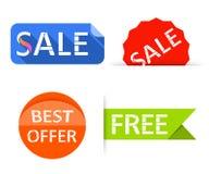 Labels de vente, autocollants Les achats étiquettent des bannières illustration libre de droits