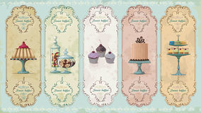 Labels de vintage avec des bonbons Image libre de droits