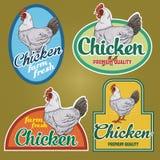 Labels de vintage de poulet illustration stock