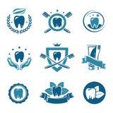 Labels dentaires et icônes réglés. Vecteur Images stock