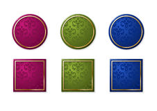 Labels of different colours. Vector labels of different colours, the round and square form with a pattern Stock Photos