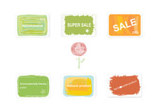 Labels on discounts. And environmentally friendly products Royalty Free Stock Photo