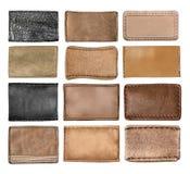 Labels en cuir de jeans, étiquettes en cuir Image stock