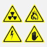 Labels, ensemble, menaces biologiques, rayonnement, danger de l'électricité, illustration stock