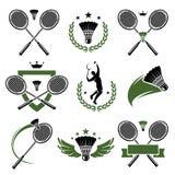 Labels et icônes de badminton réglés. Vecteur Images stock