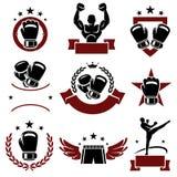 Labels et icônes de boxe réglés Vecteur Images libres de droits