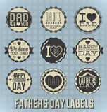 Labels et icônes heureux de jour de pères de vintage Photographie stock libre de droits