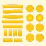 Labels et rubans d'image dans une couleur claire illustration de vecteur