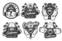 Labels faisants de la planche à roulettes d'été monochrome de cru illustration libre de droits