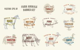 Labels with farm animals. Set templates price tags for shops and markets of organic food. Vector illustration art. Retro. Hand drawn animals vector illustration