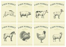 Labels with farm animals. Set templates price tags for shops and markets of organic food. Vector retro illustration art. Labels with farm animals. Set templates stock illustration