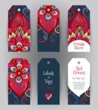 Labels fleuris avec le décor floral oriental Photo stock