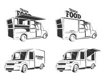 Labels with Food trucks. Food trucks. Vintage vector monochrome pictures set for emblems, labels, badges Stock Photo