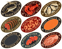 Labels For Seafood Royalty Free Stock Photography