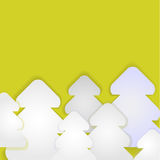 Labels in the form of fir-trees from white paper on a yellow bac. Kground.Vector Stock Images