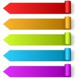 Labels formés par flèche colorée Images libres de droits