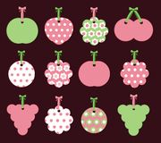 Labels with fruits and flowers. Twelve labels with fruits and flowers in pink and green Stock Images