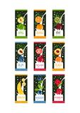 Labels for fruits milk. 9 different tastes apple, orange, kiwi, plum, pomegranate, peach, banana, blueberry and. Collection of labels with fruits in milk Royalty Free Stock Image