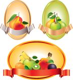 Labels with fruits in vector Royalty Free Stock Photos