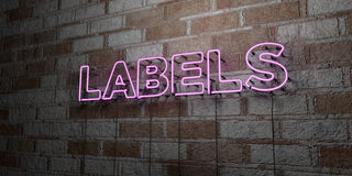 LABELS - Glowing Neon Sign on stonework wall - 3D rendered royalty free stock illustration. Can be used for online banner ads and direct mailers Royalty Free Stock Photo