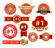 Labels gold. Vector labels - bestseller, isolated on white Royalty Free Stock Photos