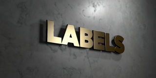 Labels - Gold sign mounted on glossy marble wall  - 3D rendered royalty free stock illustration. This image can be used for an online website banner ad or a Royalty Free Stock Images