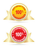 Labels - Guaranteed, satisfaction - 100%. With a gray background Stock Image