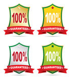 Labels - 100% guaranteed. On a white background Stock Photography