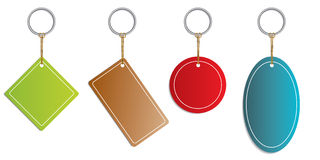 Labels hanging on rings. Or keyholder Stock Images