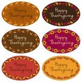 Labels heureux d'ovale de thanksgiving Photos stock