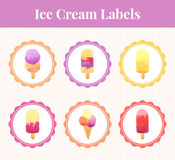 Labels with ice cream. Royalty Free Stock Image
