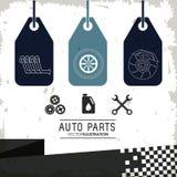 Labels icon set. Auto part design. Vector graphic Stock Images