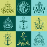 It is labels with the image of anchors Stock Photography