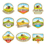 Labels with the image of a farm. Cillection of labels with the image of a farm, fields and pastures. The good choice for Logo, emblem, lable, sticker royalty free illustration