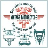Labels, insignes et conception de moto de vintage Photo libre de droits