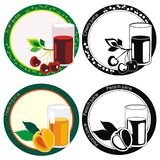 labels with juice in glass and fruits Royalty Free Stock Photography