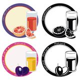 Labels with juice in glass and fruits Royalty Free Stock Photo
