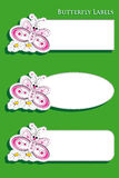 Labels for kids with butterfly Royalty Free Stock Photo