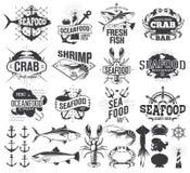 Labels, logo et illustration de fruits de mer illustration de vecteur