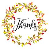 Thanks lettering collection. Handdrawn typography. Royalty Free Stock Photography